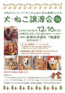 12月26日(日)「犬・ねこ譲渡会 NO.78」アニマルはにまる高槻