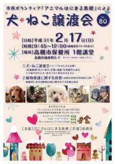 2019年 2月17日(日)「犬・ねこ譲渡会 NO.80」アニマルはにまる高槻