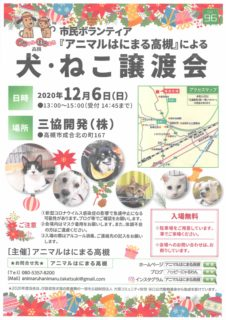 中止のおしらせです。2020年12月6日(日)「犬・ねこ譲渡会 NO.96」アニマルはにまる高槻